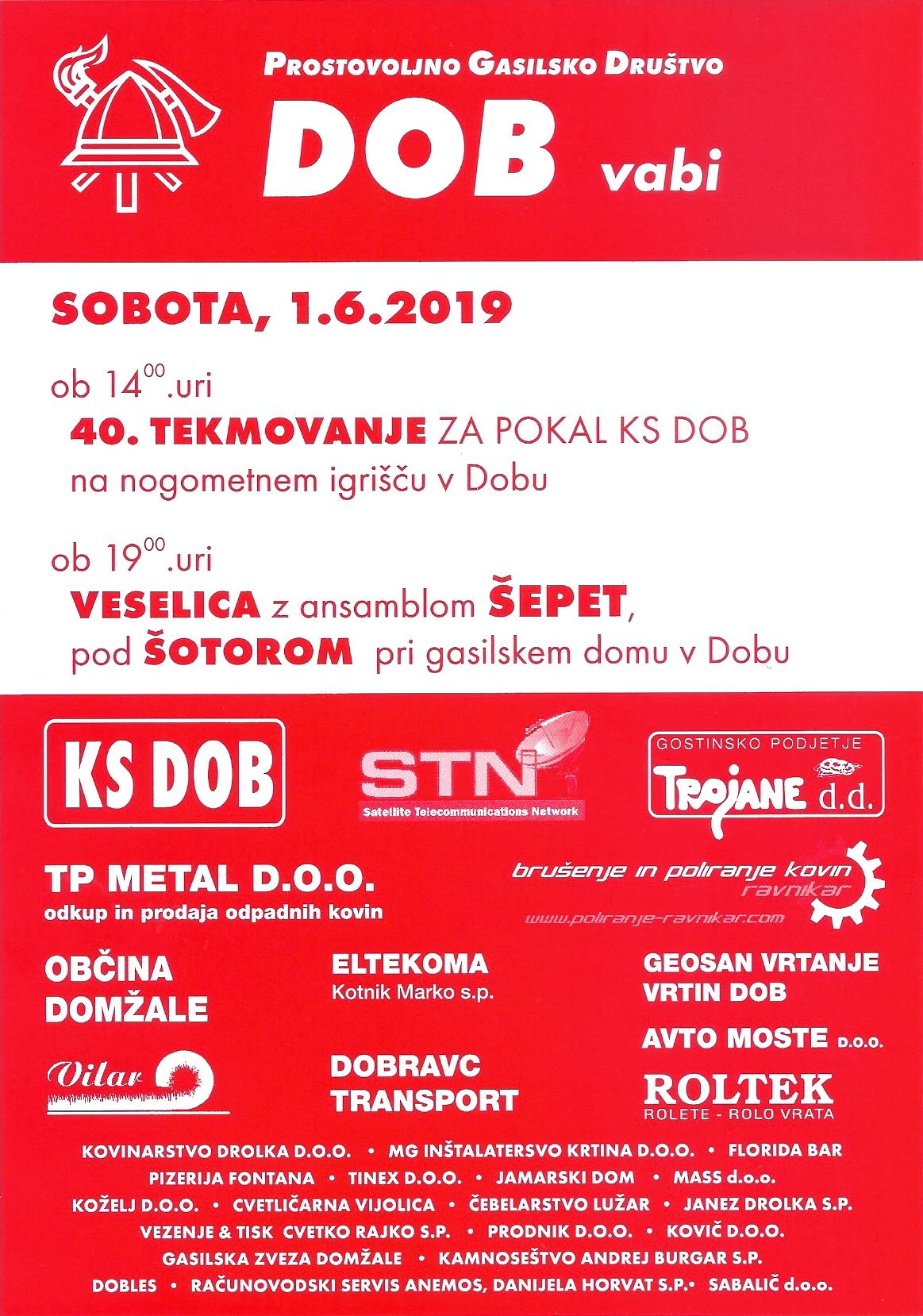 Gasilska veselica PGD Dob 1.6.2019