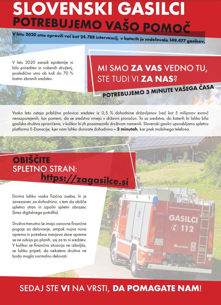 Slovenski gasilci potrebujemo vašo pomoč